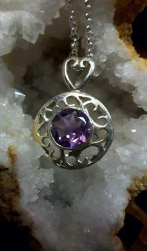 round amethyst pendant